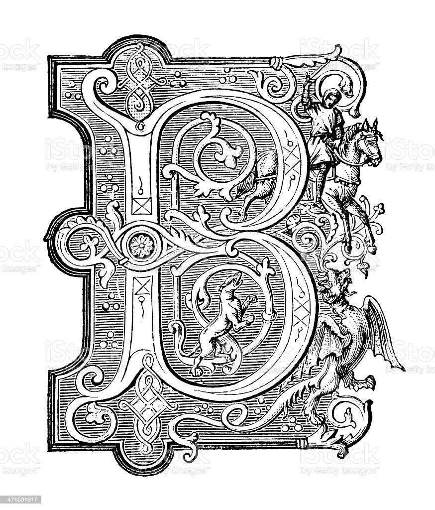 Embellished Letter B - Antique Engraving vector art illustration