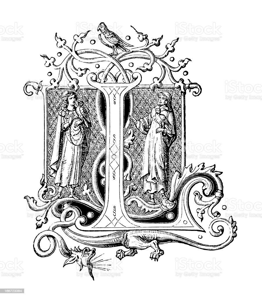 Embellished Letter L - Antique Engraving royalty-free stock vector art