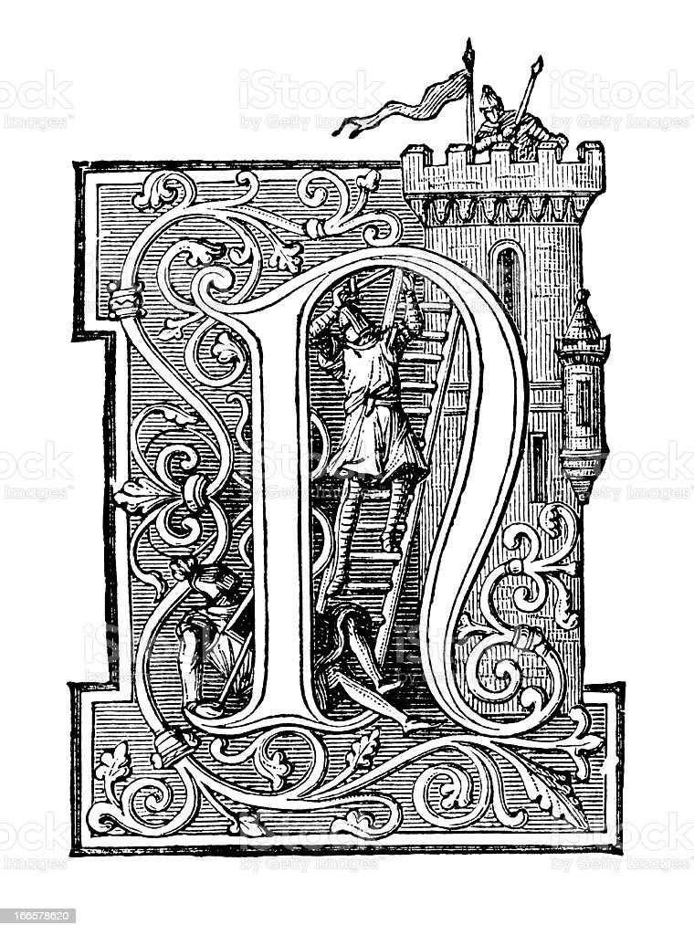 Embellished Letter N - Antique Engraving royalty-free stock vector art