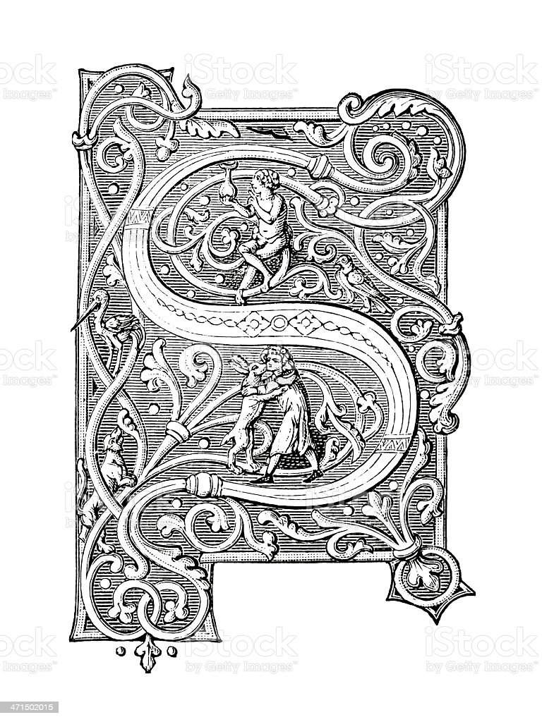 Embellished Letter S - Antique Engraving royalty-free stock vector art