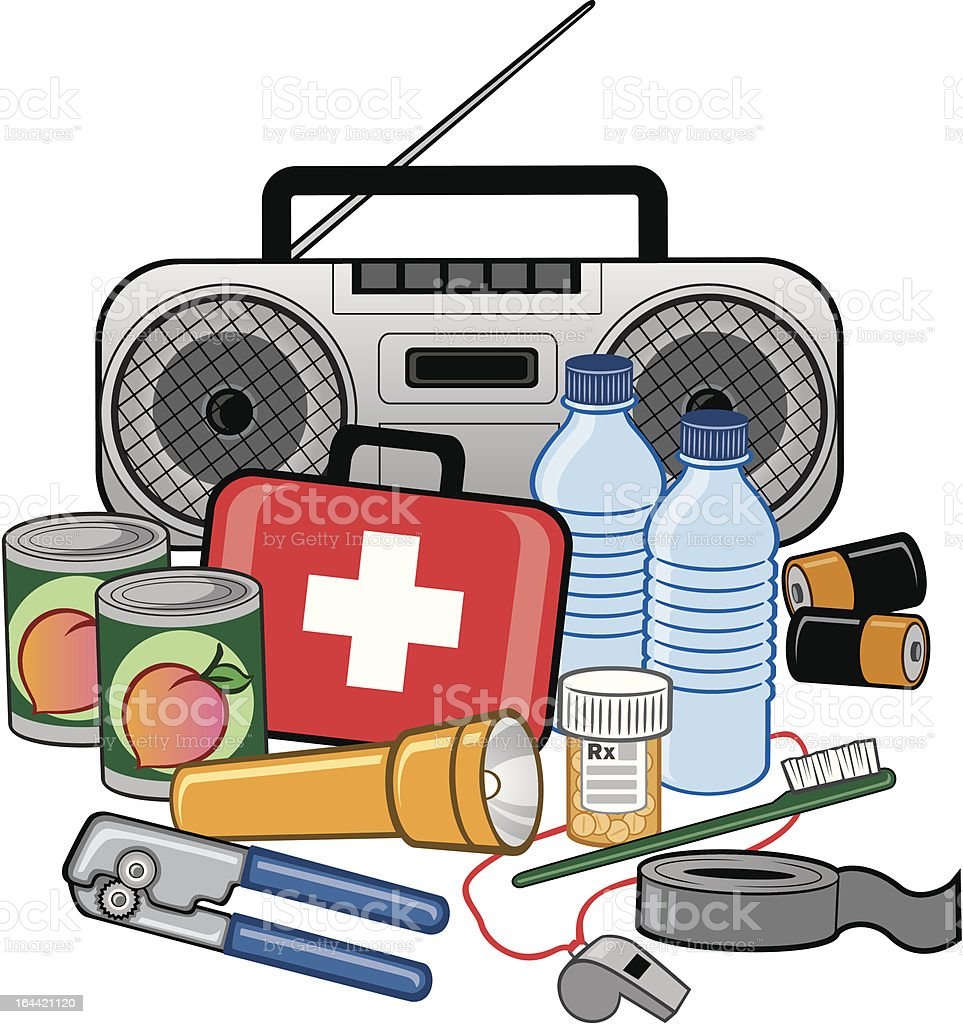 Emergency Survival Preparedness Kit vector art illustration