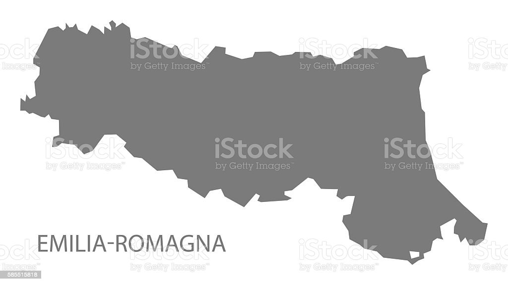 Emilia-Romagna Italy Map grey vector art illustration