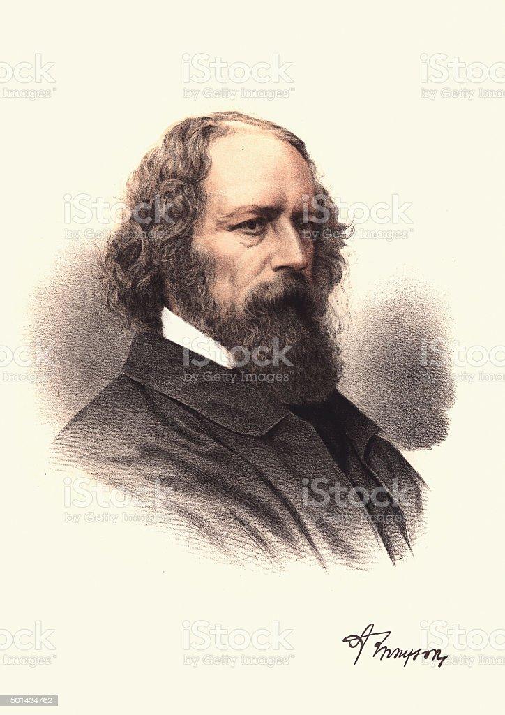 Eminent Victorians - Alfred, Lord Tennyson vector art illustration