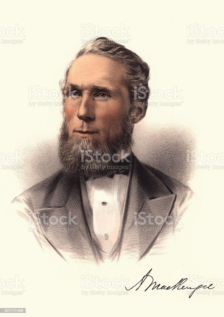 Eminent Victorians - Portrait of Alexander Mackenzie vector art illustration