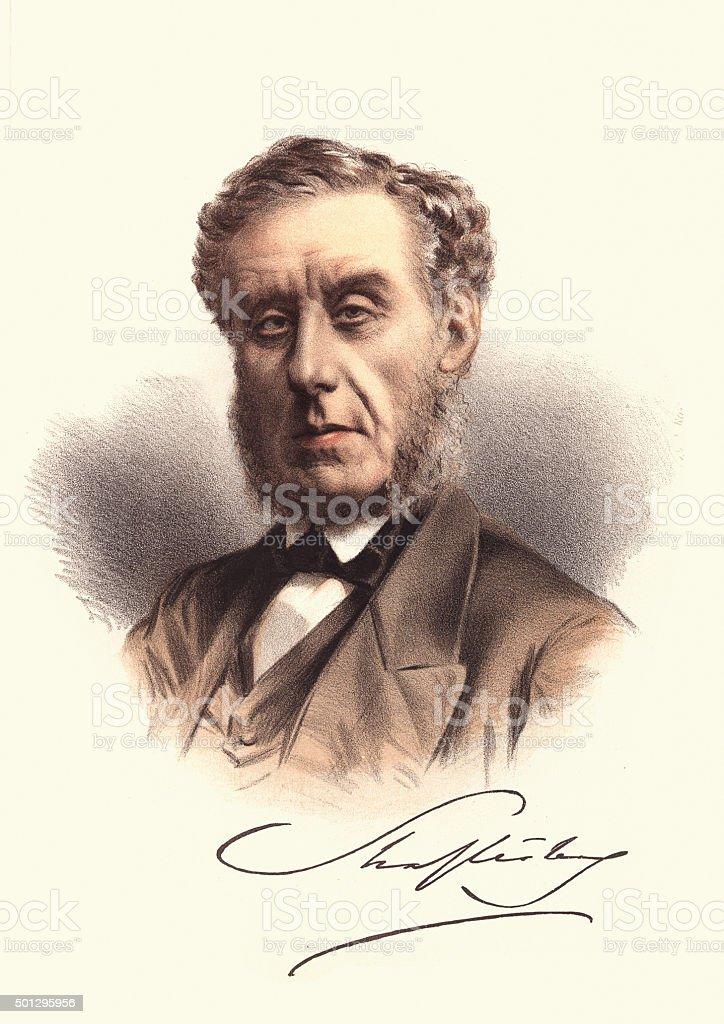 Eminent Victorians - Portrait of Anthony Ashley-Cooper, 7th Earl vector art illustration