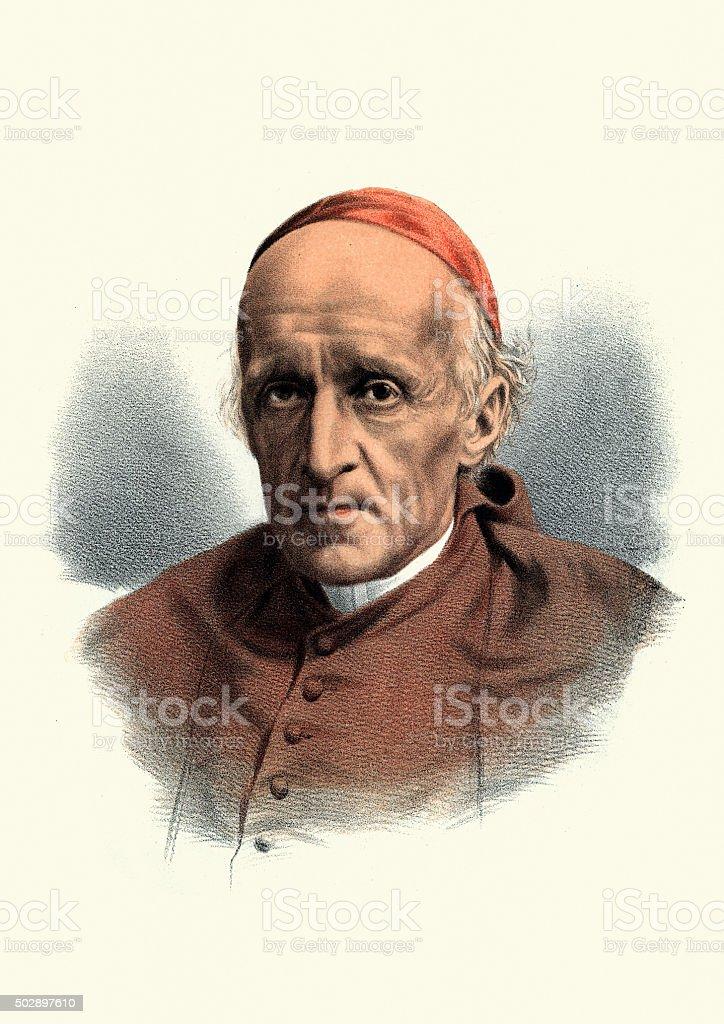 Eminent Victorians - Portrait of Cardinal Henry Manning vector art illustration