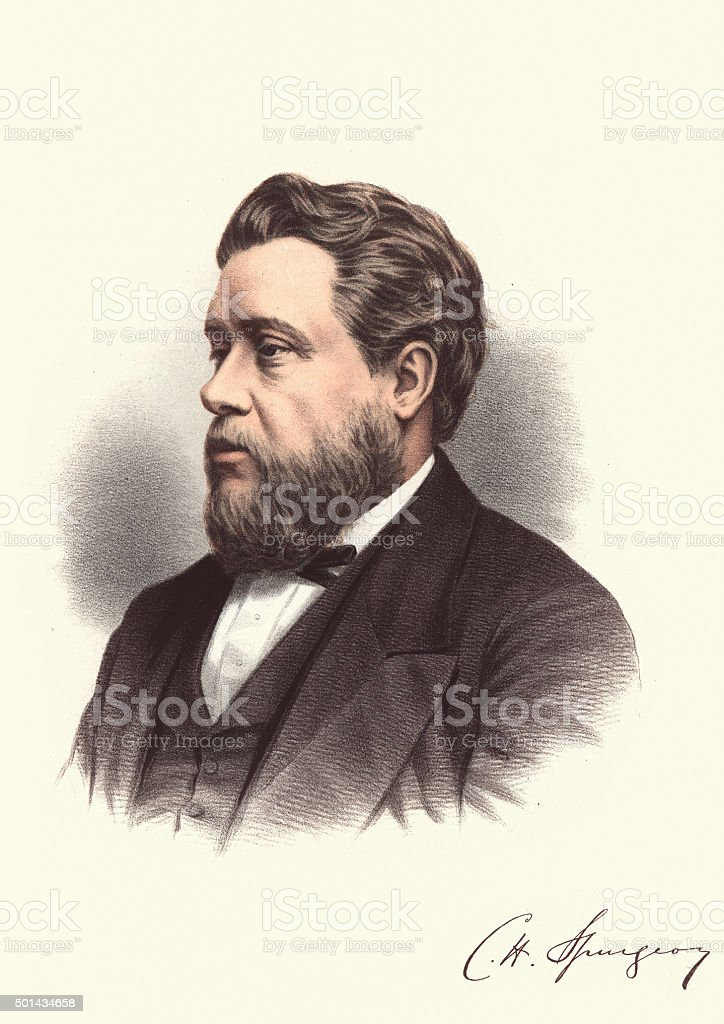 Eminent Victorians - Portrait of Charles Haddon Spurgeon vector art illustration