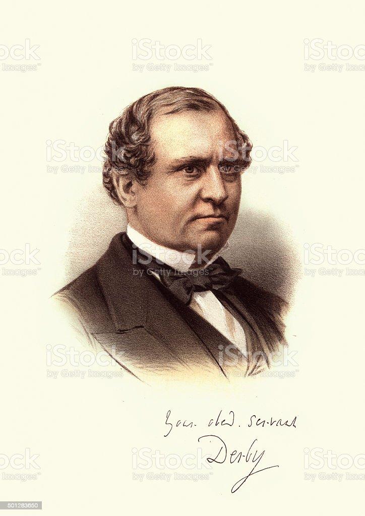 Eminent Victorians - Portrait of Edward Stanley Earl of Derby vector art illustration