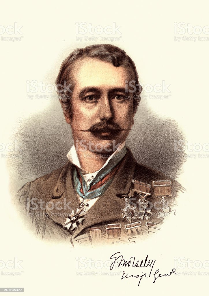 Eminent Victorians - Portrait of Field Marshal Garnet Wolseley vector art illustration