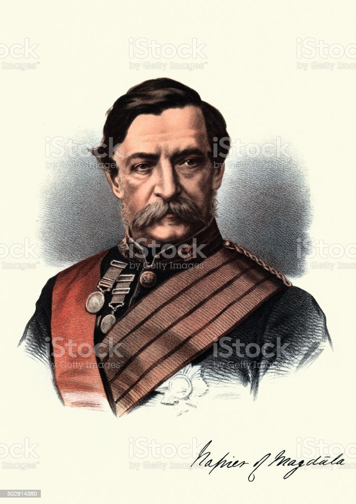 Eminent Victorians - Portrait of Field Marshal Robert Napier vector art illustration