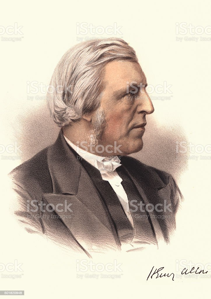 Eminent Victorians - Portrait of Henry Allon vector art illustration