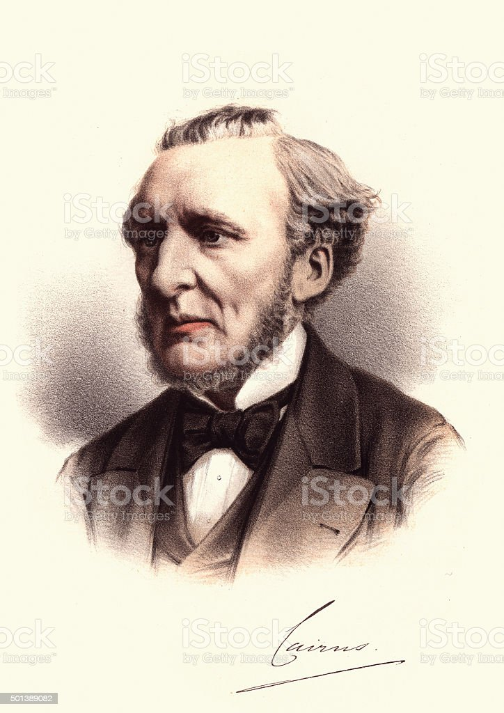 Eminent Victorians - Portrait of Hugh Cairns, 1st Earl Cairns vector art illustration