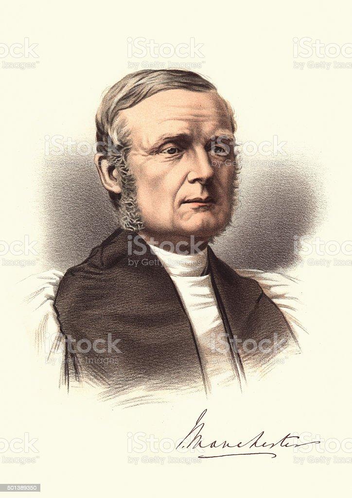 Eminent Victorians - Portrait of James Fraser Bishop of Manchest vector art illustration
