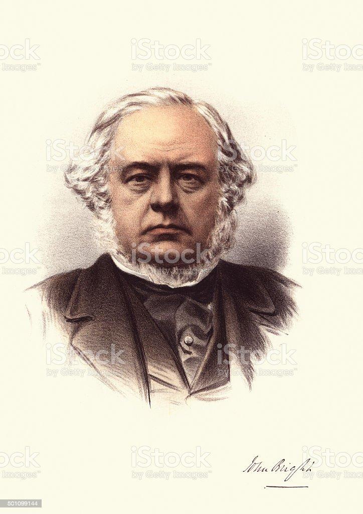 Eminent Victorians - Portrait of John Bright vector art illustration