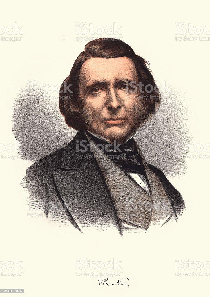 Eminent Victorians - Portrait of John Ruskin vector art illustration