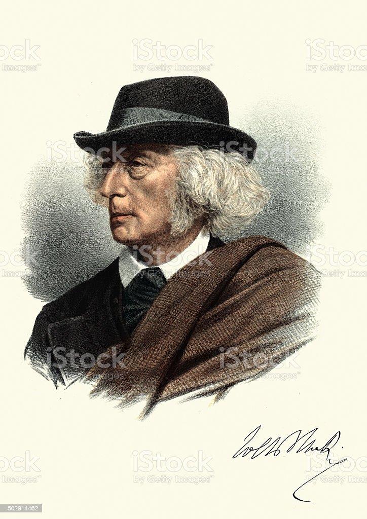 Eminent Victorians - Portrait of John Stuart Blackie vector art illustration