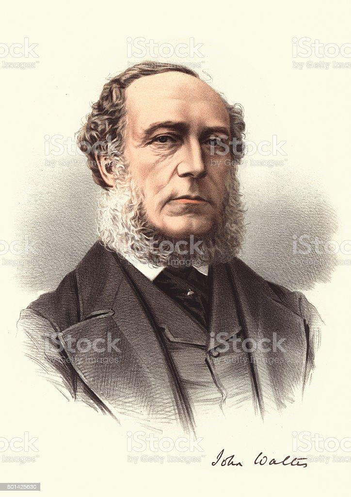 Eminent Victorians - Portrait of John Walter vector art illustration