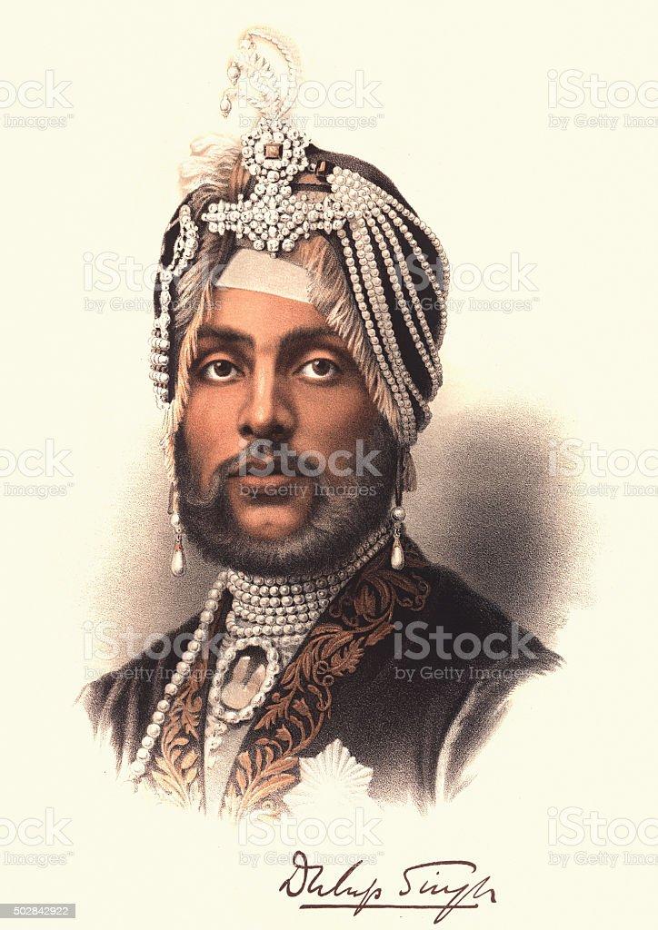 Eminent Victorians - Portrait of Maharajah Duleep Singh vector art illustration