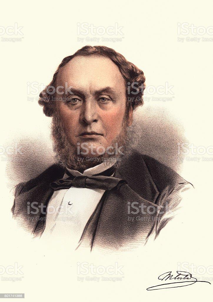 Eminent Victorians - Portrait of Michael Costa (conductor) vector art illustration