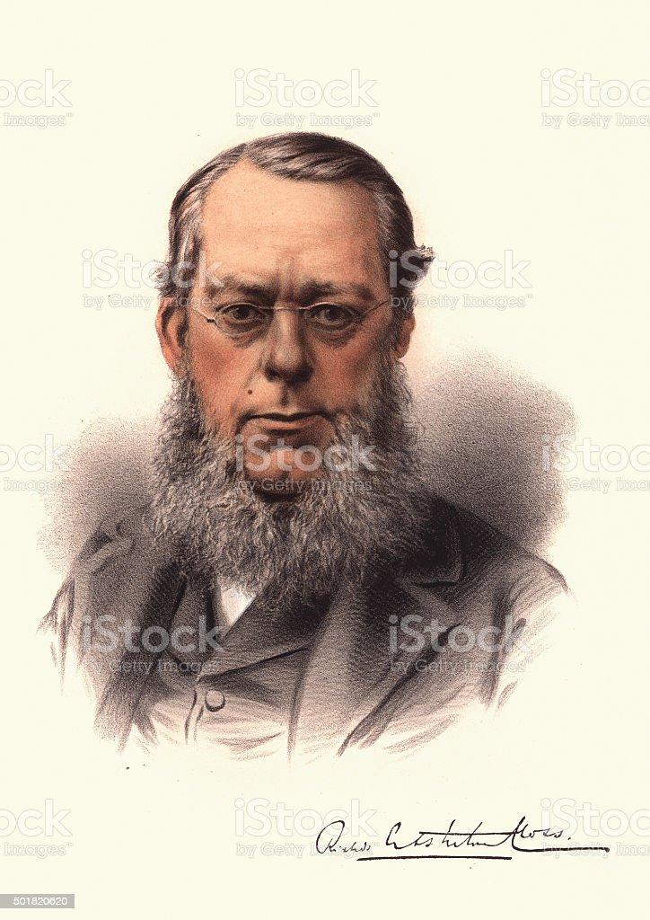 Eminent Victorians - Portrait of Richard Assheton Cross vector art illustration