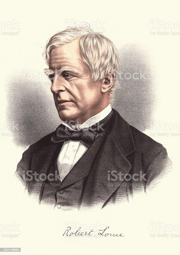 Eminent Victorians - Portrait of Robert Lowe, 1st Viscount Sherb vector art illustration