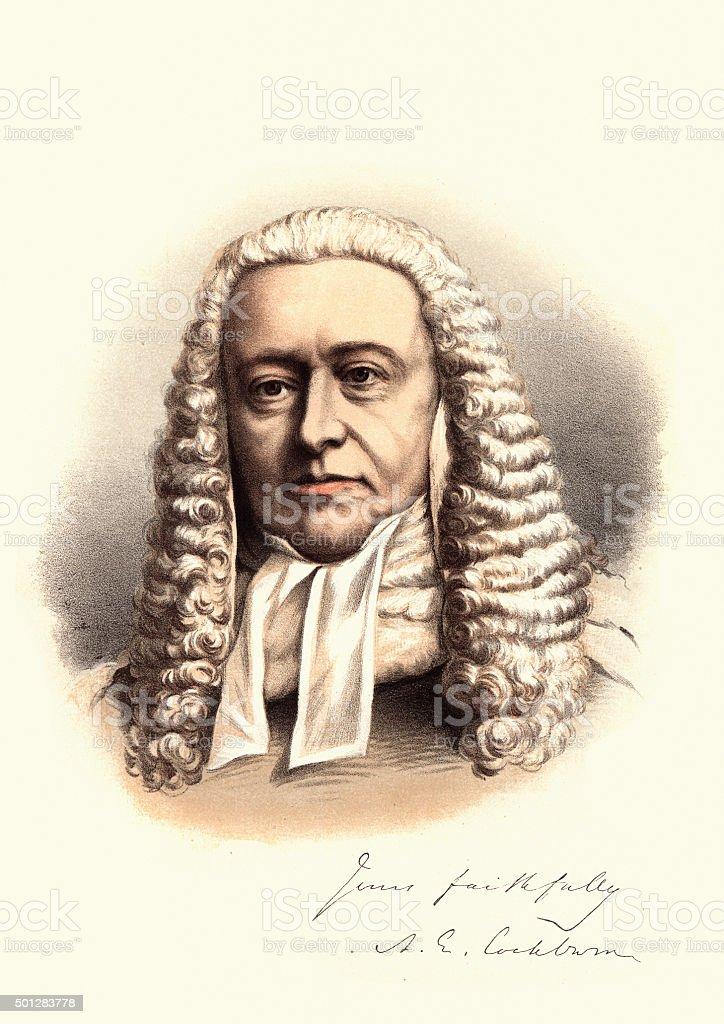 Eminent Victorians - Portrait of Sir Alexander Cockburn, 12th Ba vector art illustration