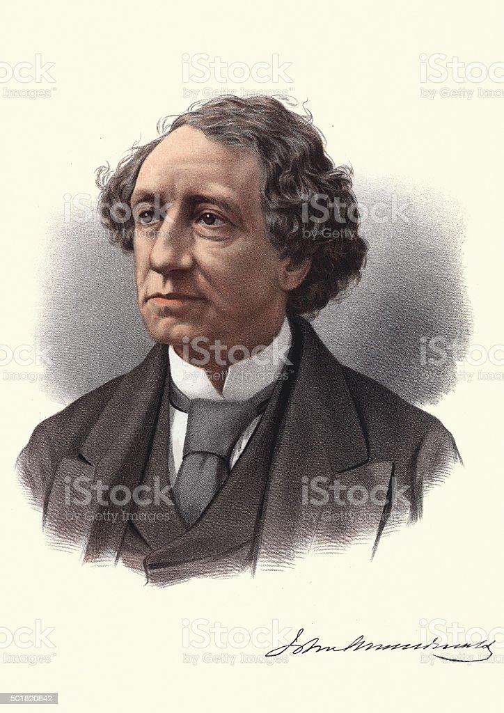 Eminent Victorians - Portrait of Sir John Alexander Macdonald vector art illustration