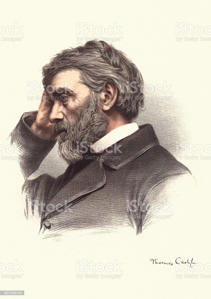 Eminent Victorians - Portrait of Thomas Carlyle vector art illustration