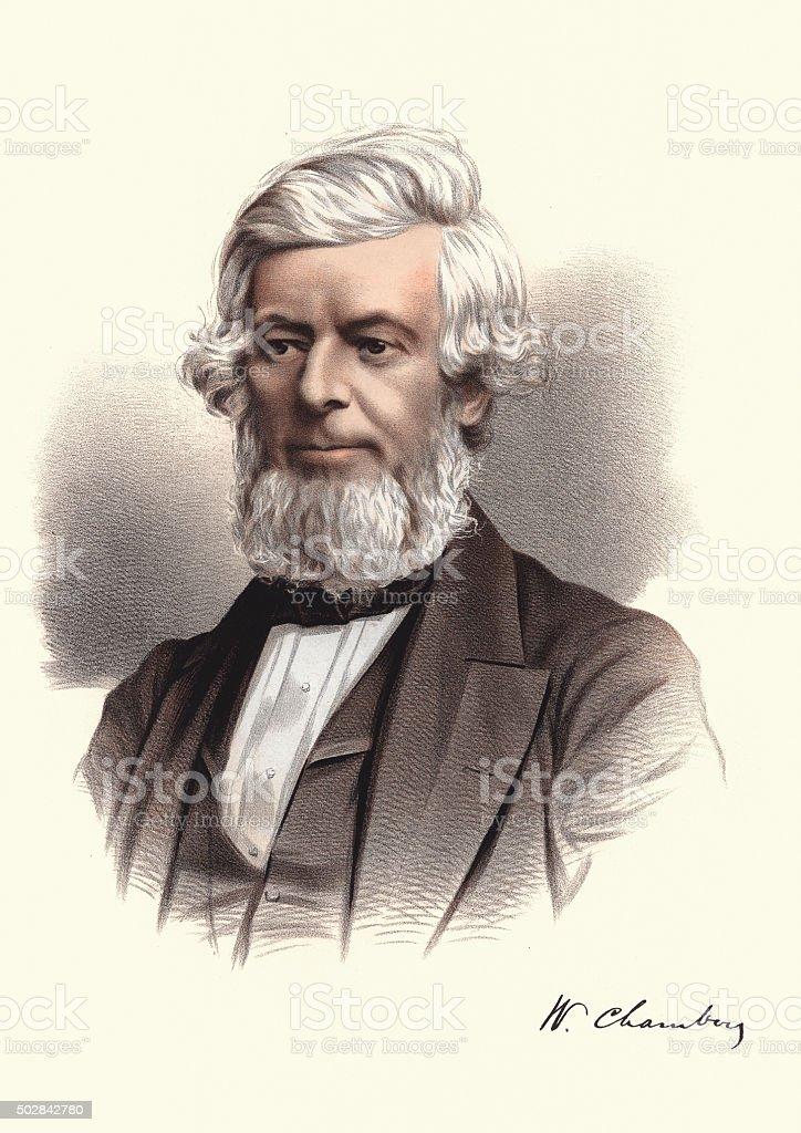 Eminent Victorians - Portrait of William Chambers vector art illustration