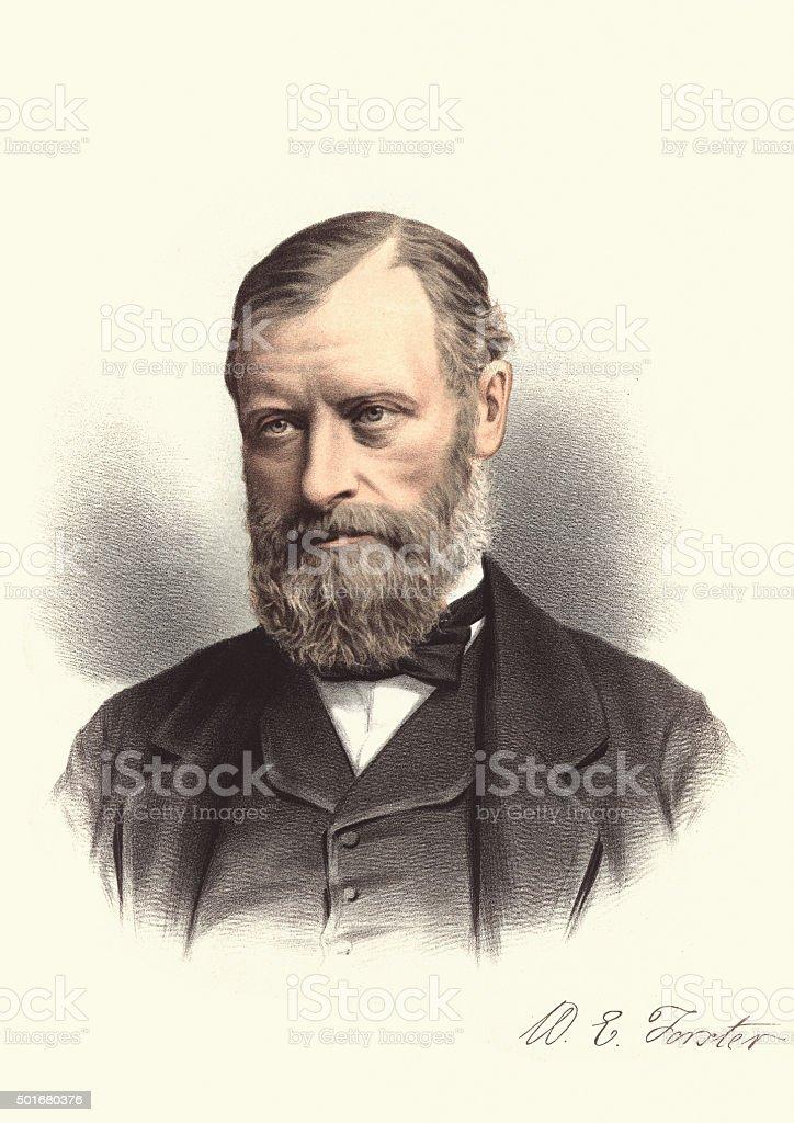 Eminent Victorians - Portrait of William Edward Forster vector art illustration