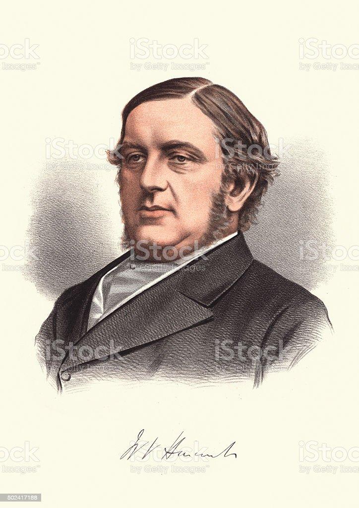 Eminent Victorians - Portrait of William Vernon Harcourt vector art illustration