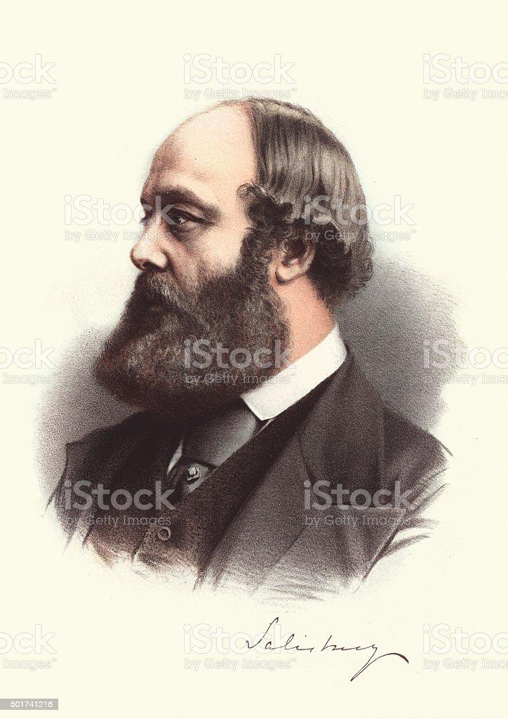 Eminent Victorians - Robert Gascoyne-Cecil, 3rd Marquess of Sali vector art illustration