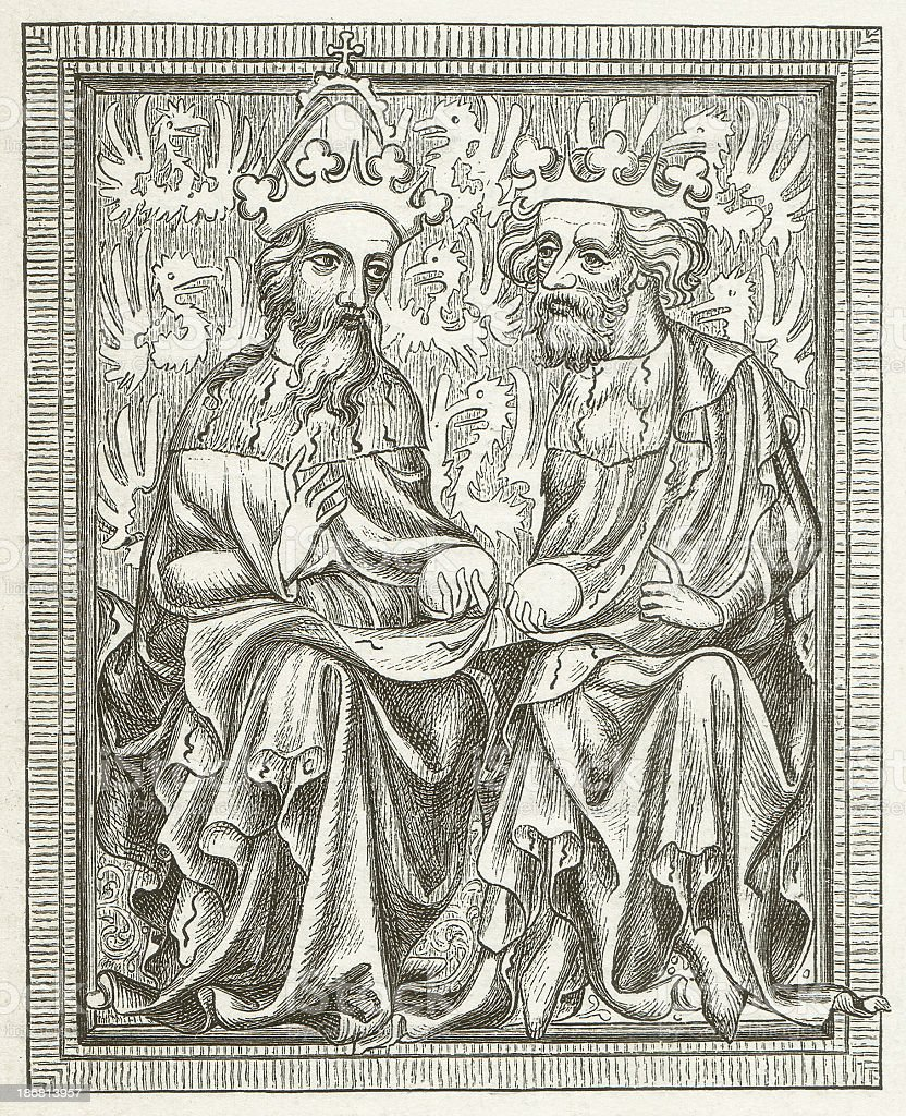 Emperor Charles IV and his son King Wenceslaus of Bohemia vector art illustration