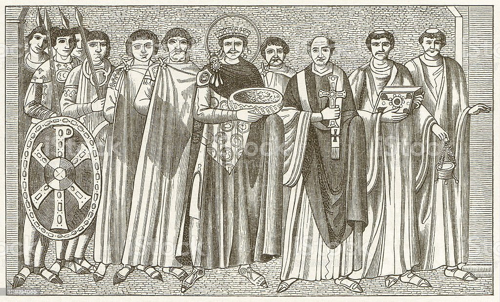 Emperor Justinian and Bishop Maximianus, after a mosaic in Ravenna vector art illustration
