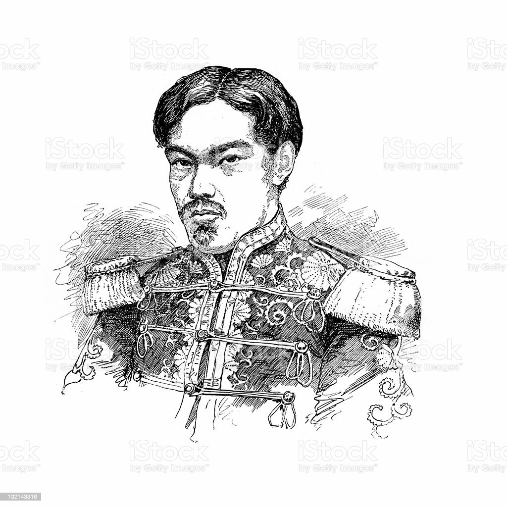 Emperor Meiji of Japan, circa 1873 vector art illustration