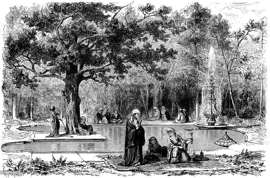 Emperor palace garden royalty-free stock vector art