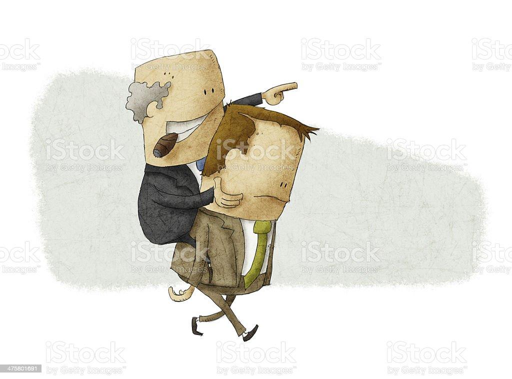 Employee piggybacking a boss vector art illustration