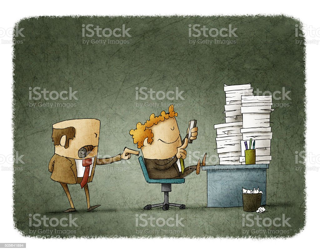 Employee using his smartphone at workplace vector art illustration