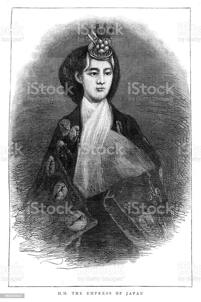 Empress Shōken of Japan royalty-free stock vector art