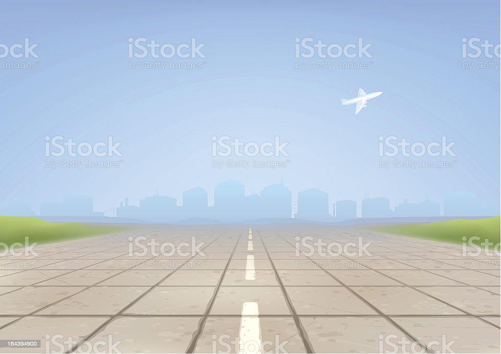 Empty concrete airport runway vector art illustration