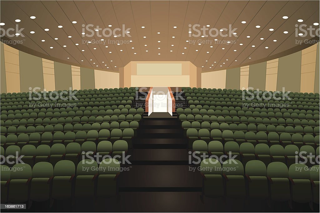 Empty conference auditorium with green chairs vector vector art illustration
