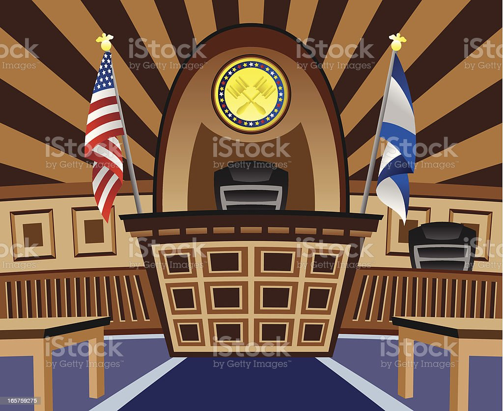 Empty Courtroom vector art illustration
