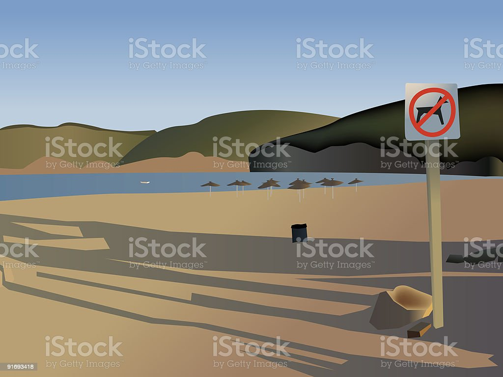 Empty evening bay beach royalty-free stock vector art