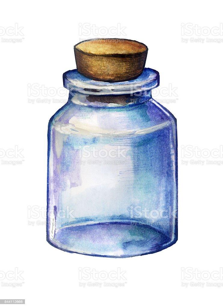 Empty glass jar vector art illustration