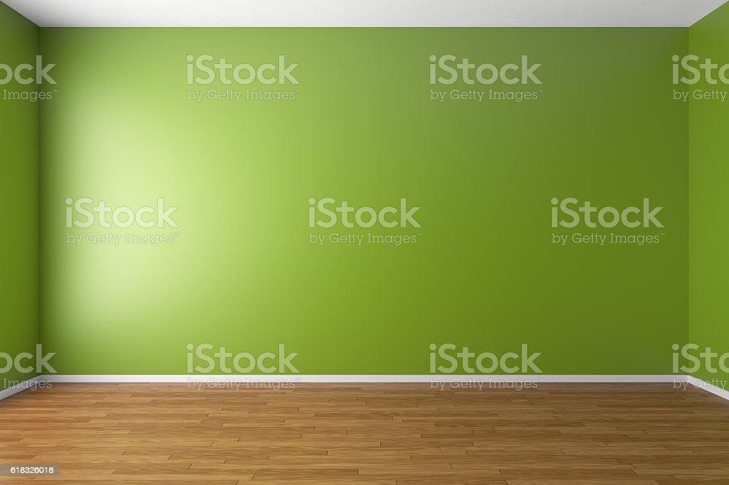 Empty green room with parquet floor vector art illustration