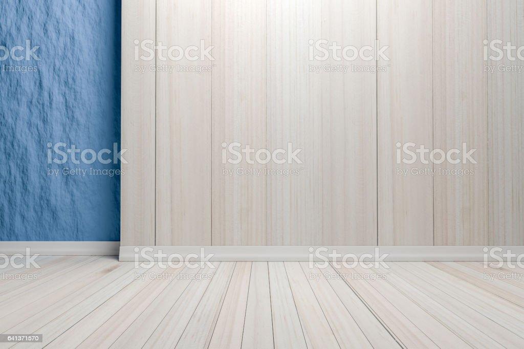 Empty interior light blue room with wooden floor. vector art illustration