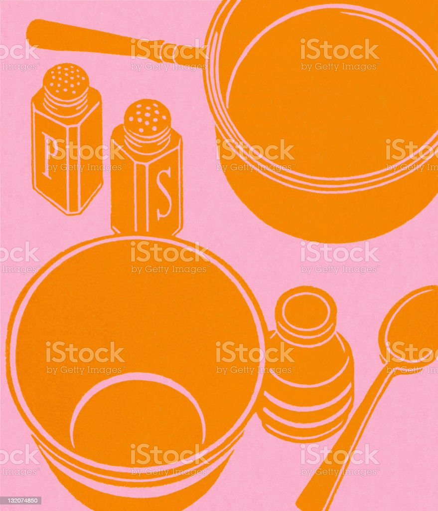 Empty Pan and Bowl vector art illustration