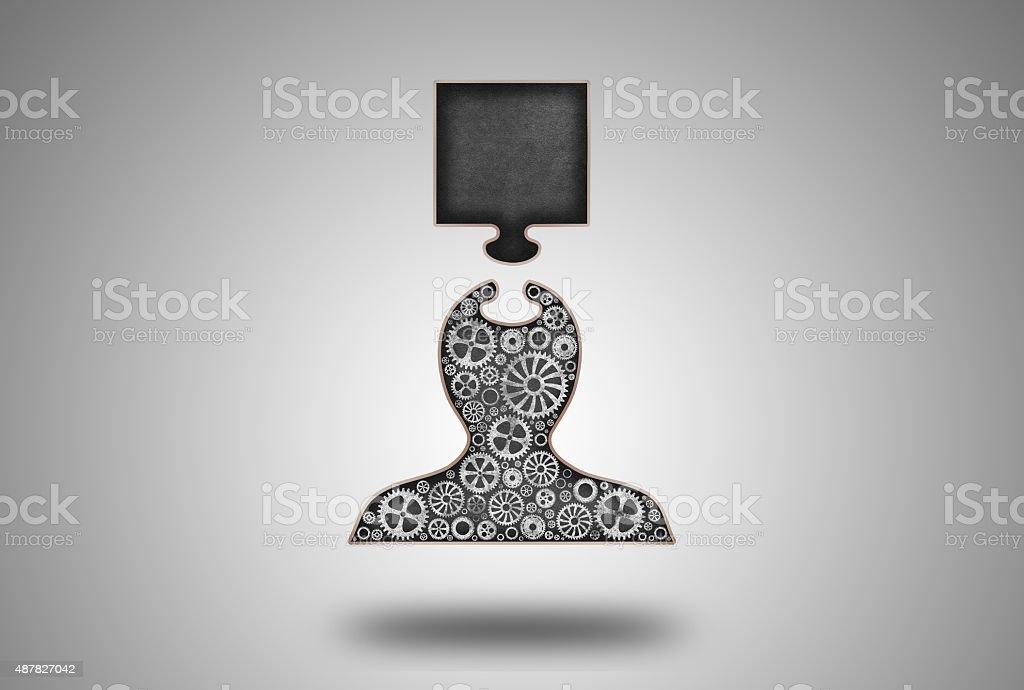 Empty Puzzle Piece Blackboard Concept vector art illustration