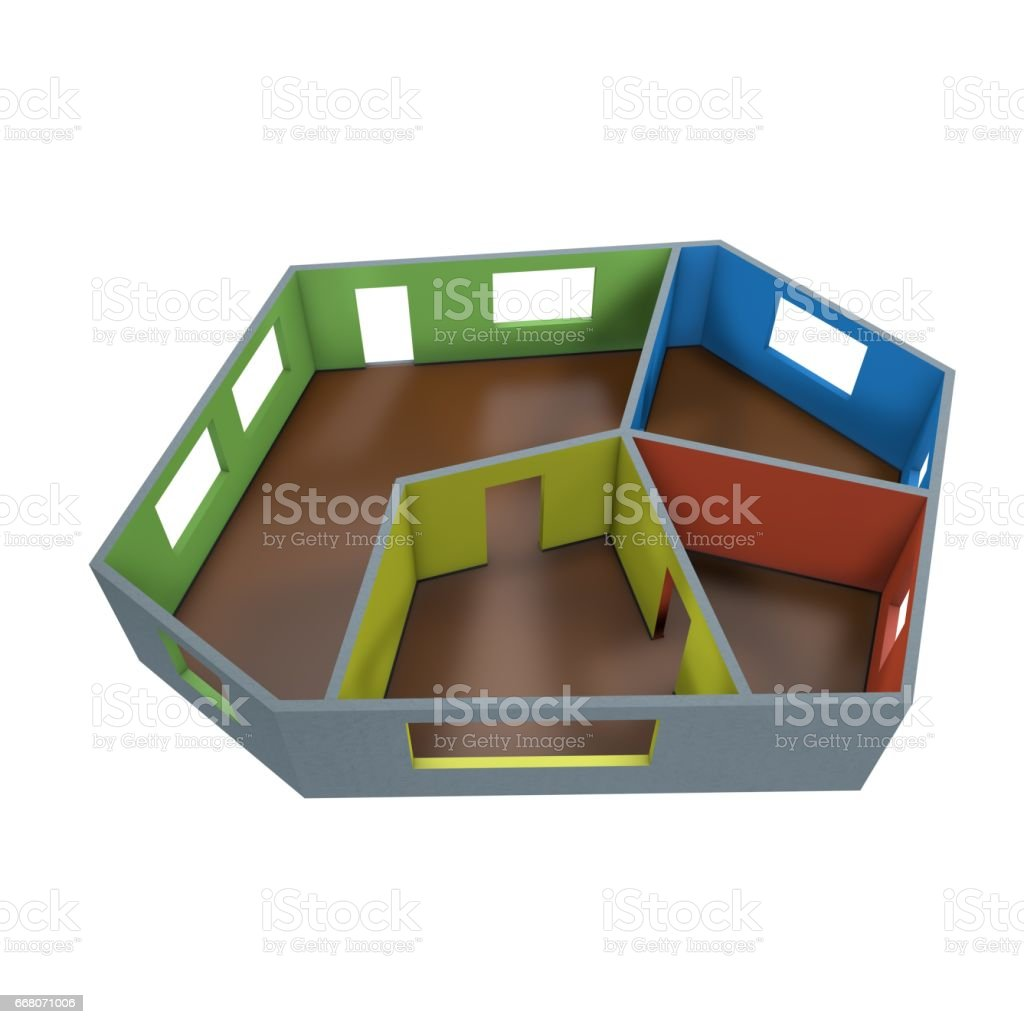 Empty room plan.Isolated on white background.3D rendering illustration. stock photo