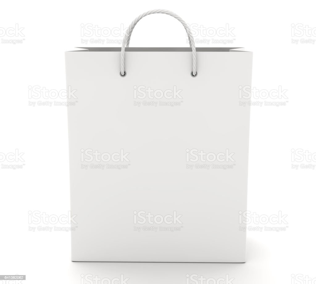 empty shopping bag on the white front view stock vector art